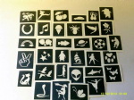 250 - 5000 stencils for glitter tattoos / airbrush / face painting  WHOLESALE mermaids dolphin dragon sport animals tribal dinosaurs